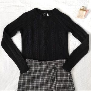 H&M dark navy cable knit wool sweater
